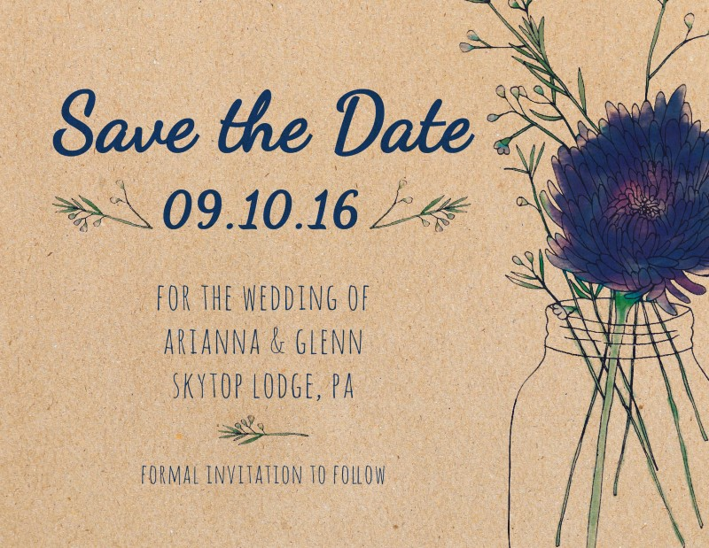 Rustic Mason Jar Flowers - Save The Date