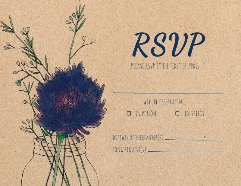 Rustic Mason Jar Flowers - RSVP Cards