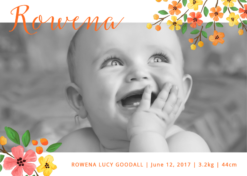 Floral announcement - Baby Announcement