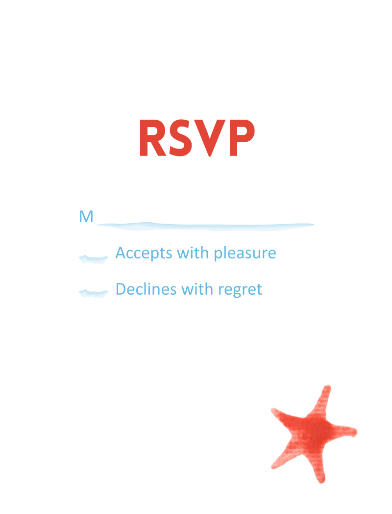 Seashells and starfish - RSVP Cards