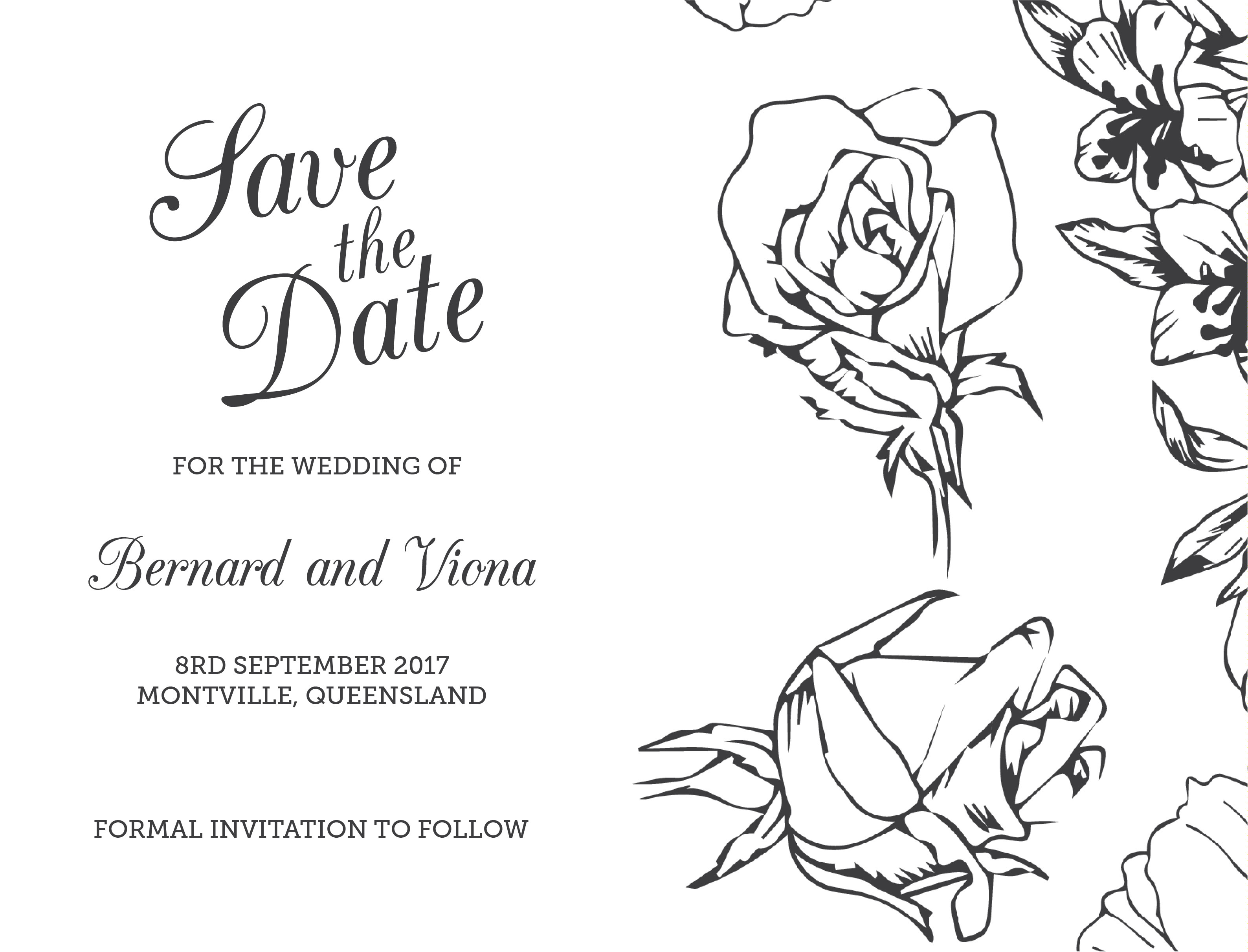 Flower Outline - Save The Date