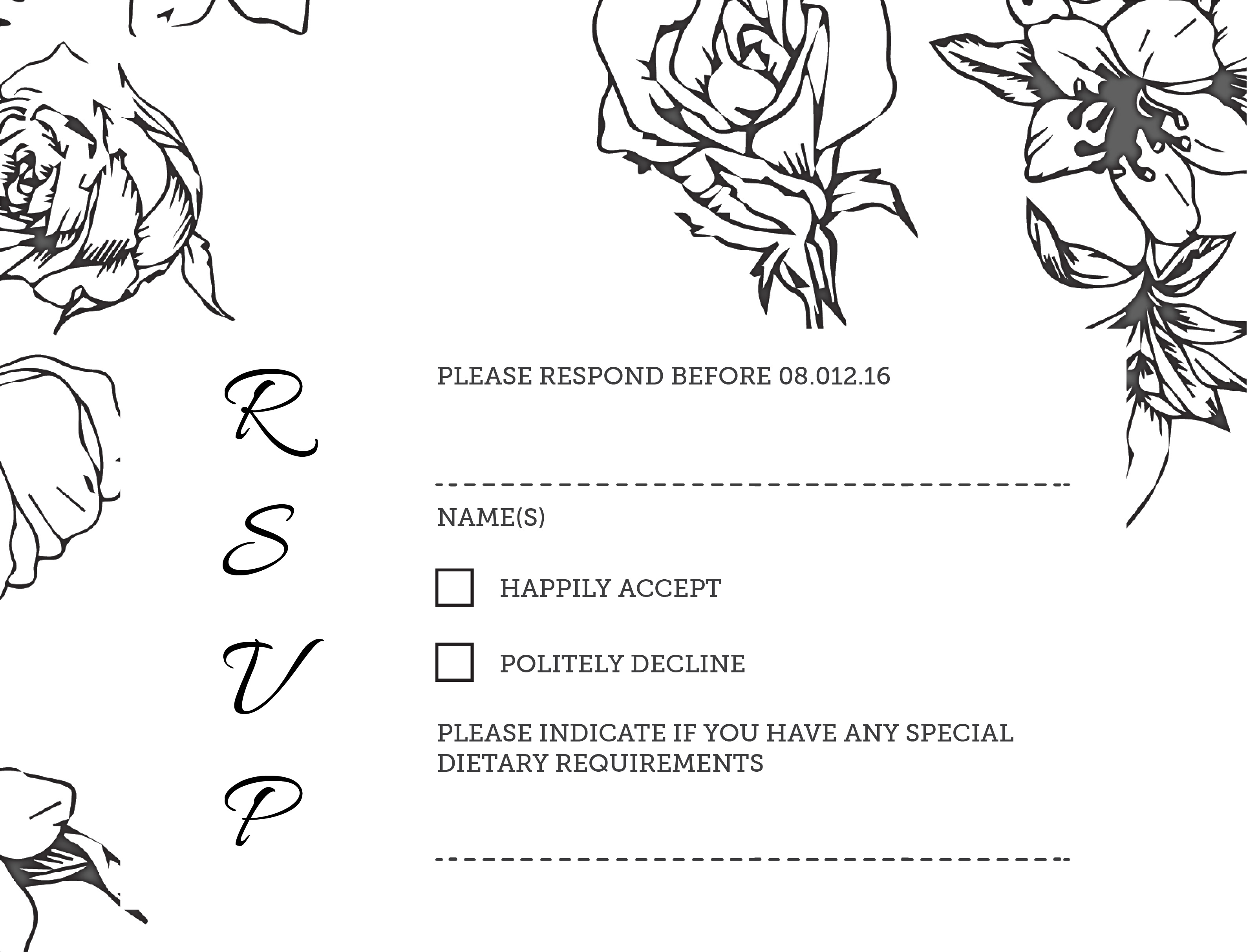 Flower Outline - RSVP Cards