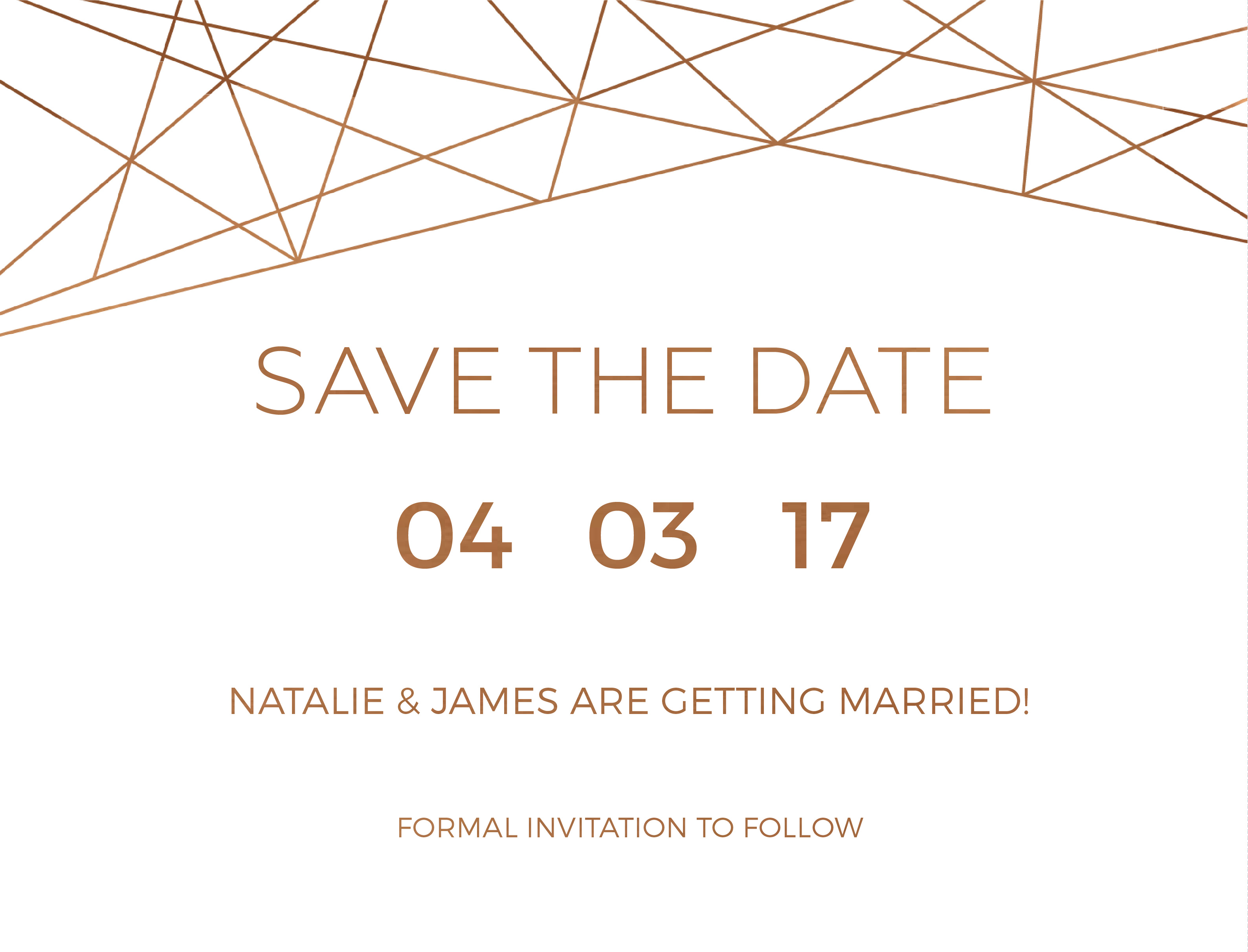 Geometric Copper - Save The Date