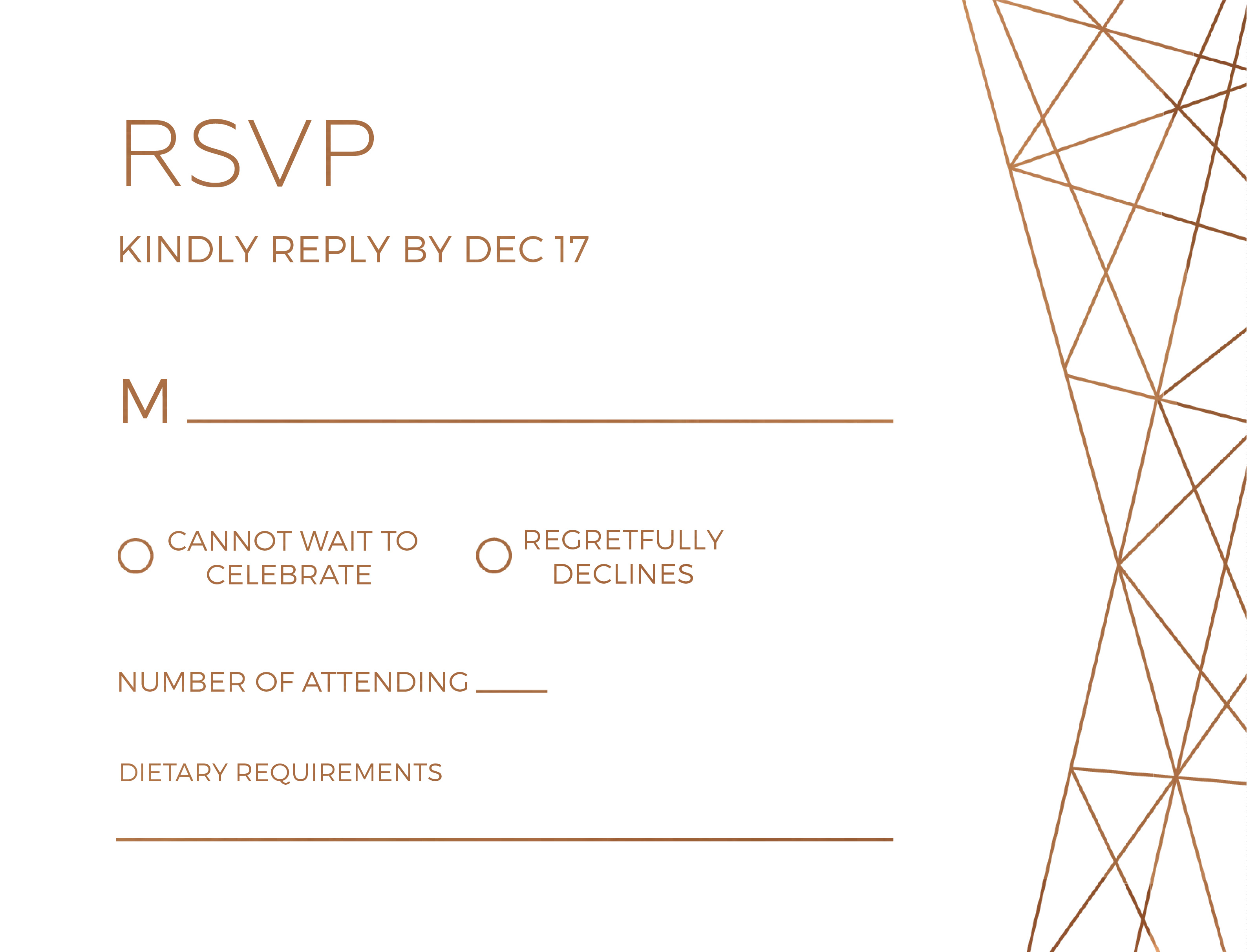 Geometric Copper - RSVP Cards