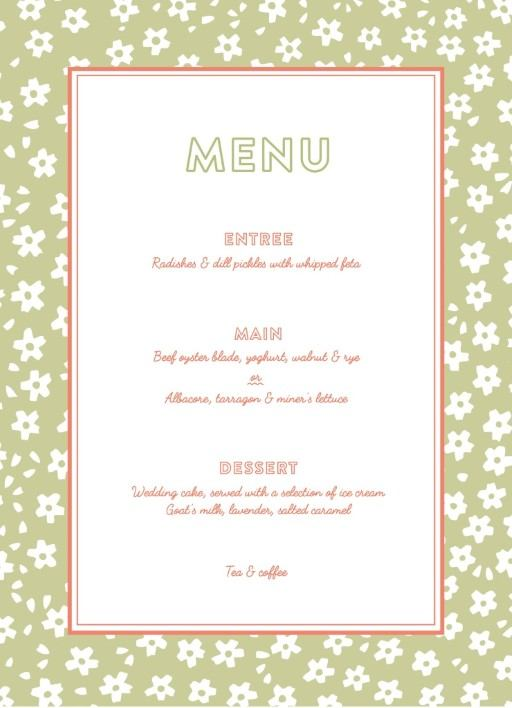 Kawaii - Wedding Menu