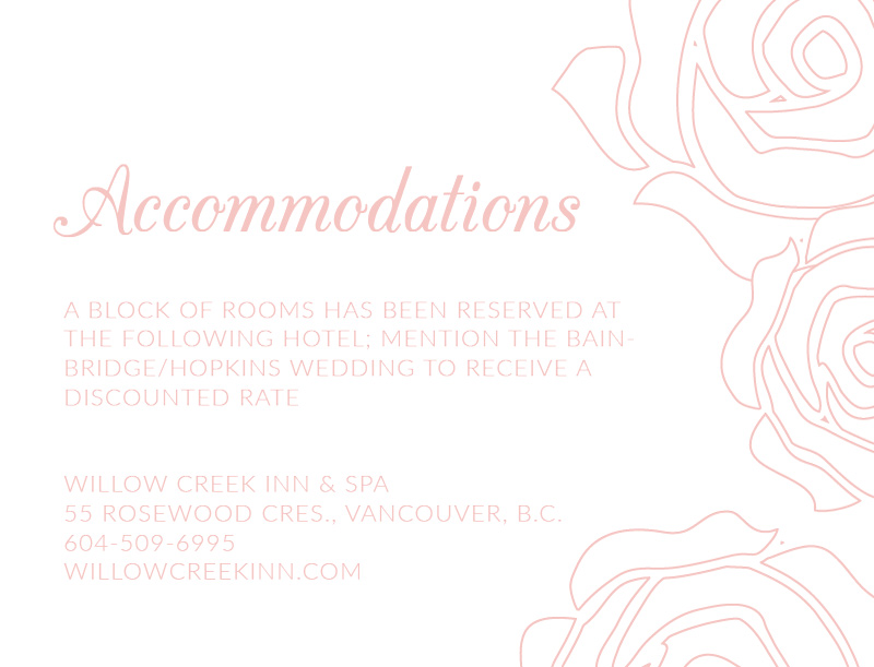 Roses and Elegance - Information Card