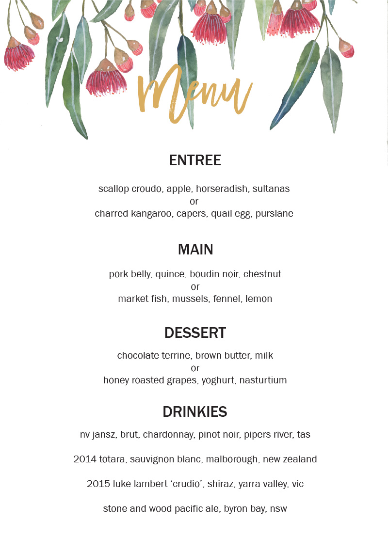 Golden Native - Menu Card