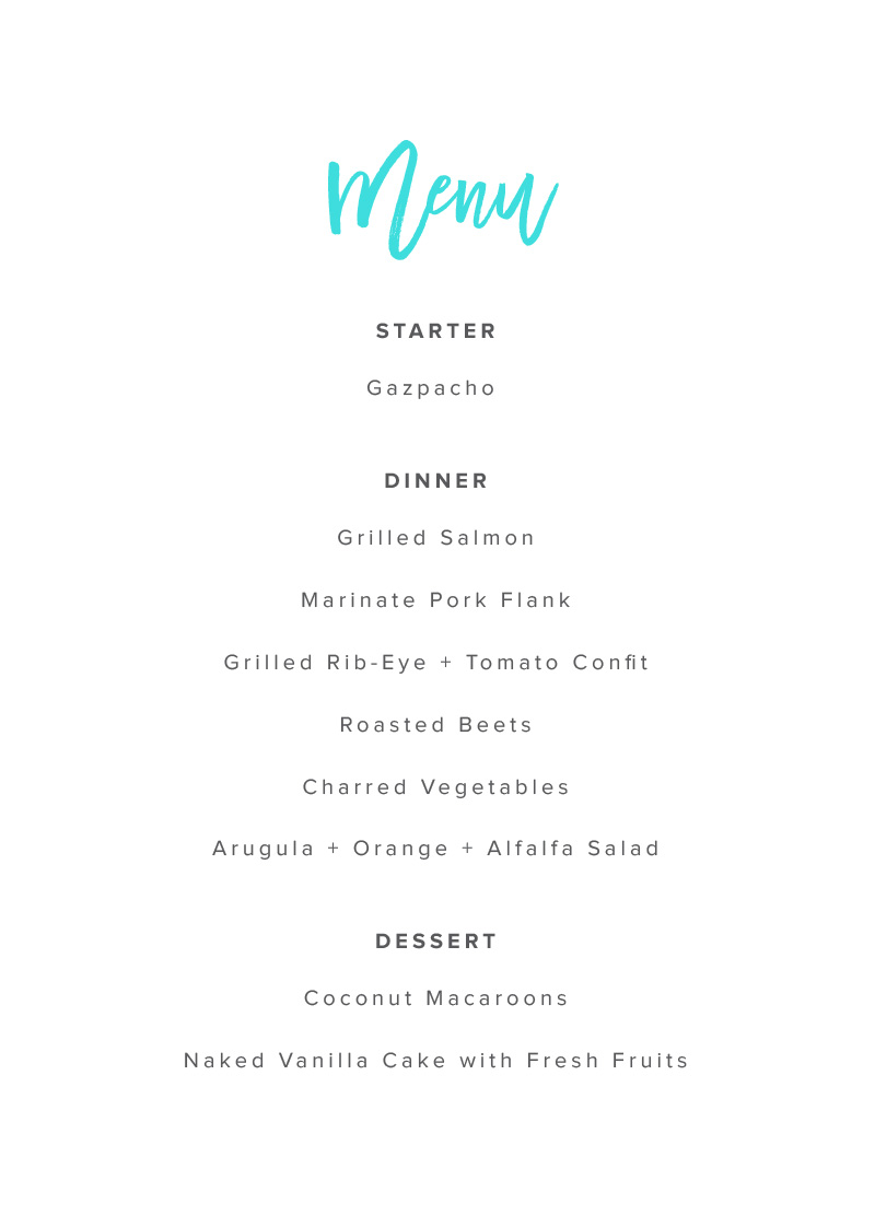 Swell - Menu Card