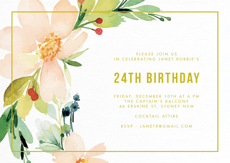 Floral Edge - Birthday Invitations