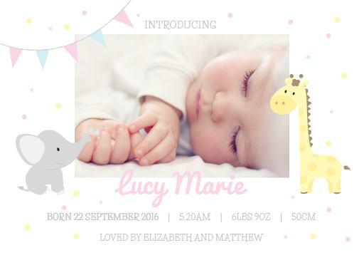 ABC Animals - baby announcement