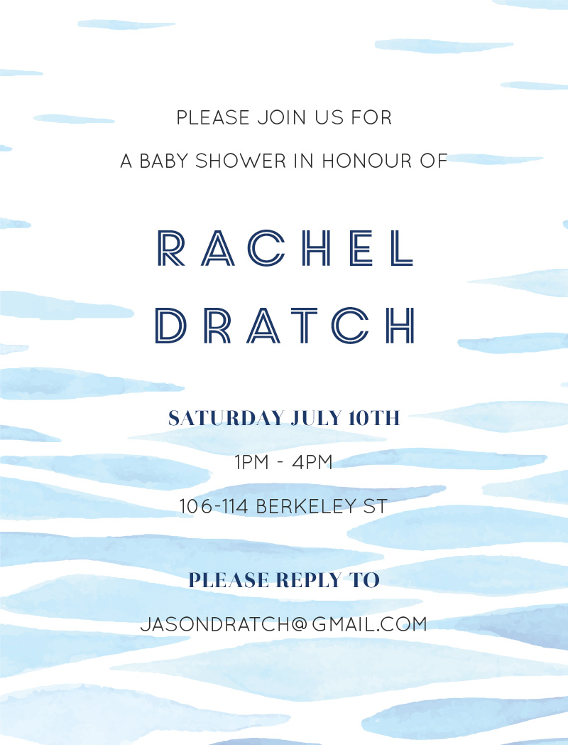 Clear Blue - Baby Shower Invitations