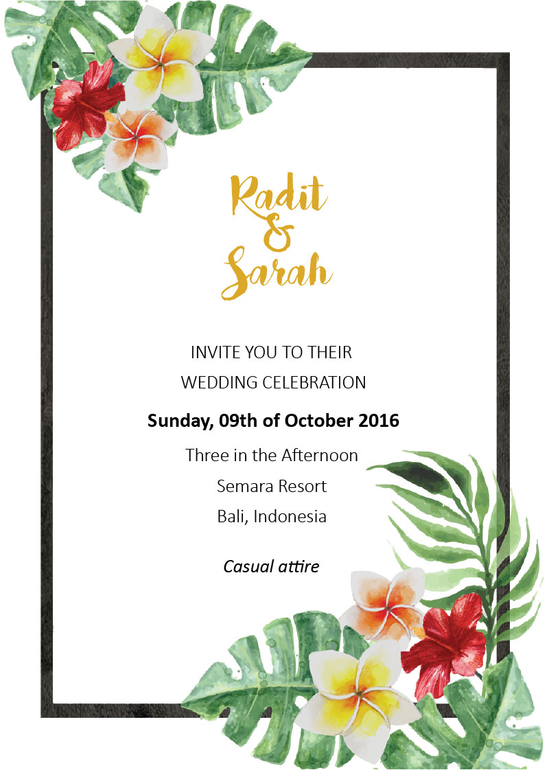 Simply Tropics - Frangipani Wedding Invitations