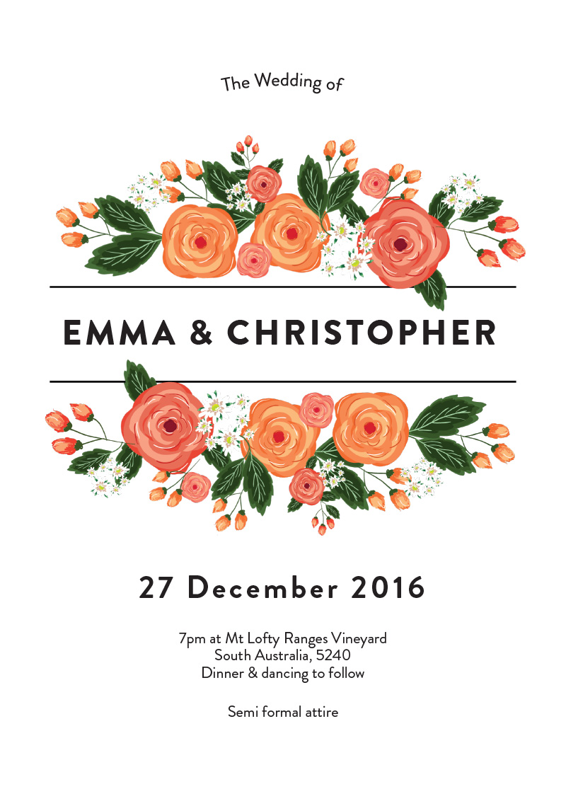 Florals - engagement invitations