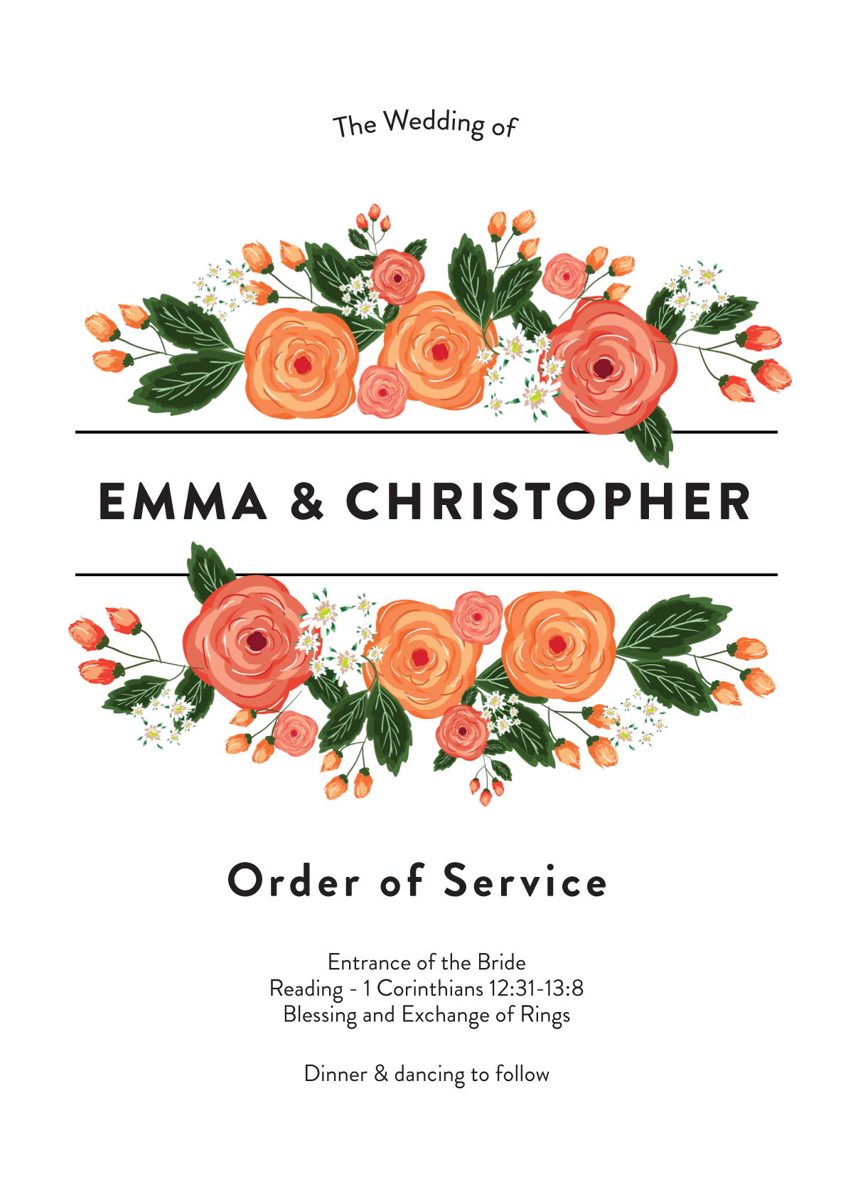 Florals - Order of Services