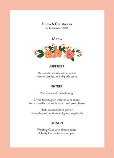 Florals - Wedding Menu