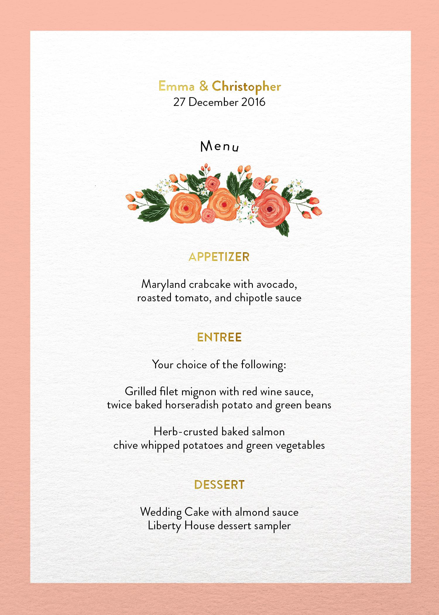 Florals - Wedding Menu