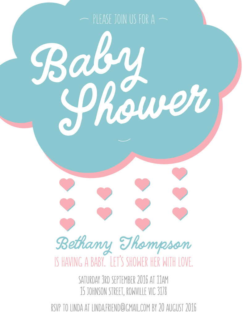 Lovely Cloud - Baby Shower Invitations