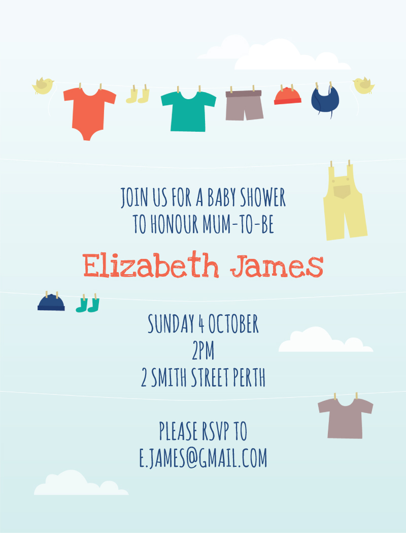 Baby Clothes - Baby Shower Invitations