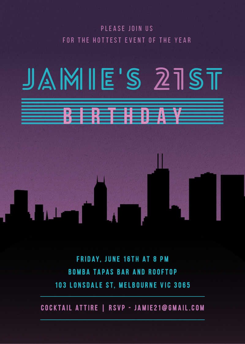 Ozzie Vice City - Birthday Invitations