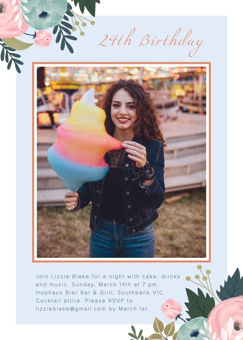 Floral frame - Birthday Invitations