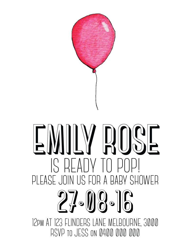 Balloons Seaside - Baby Shower Invitations