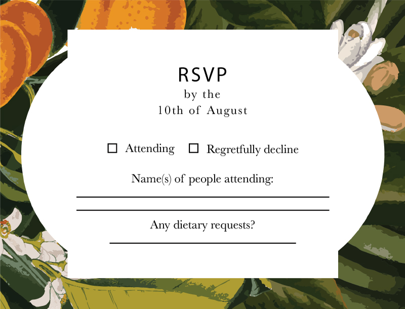 Kumquat Tropical - RSVP Cards