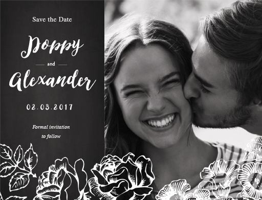 Floral Chalkboard - Save The Date