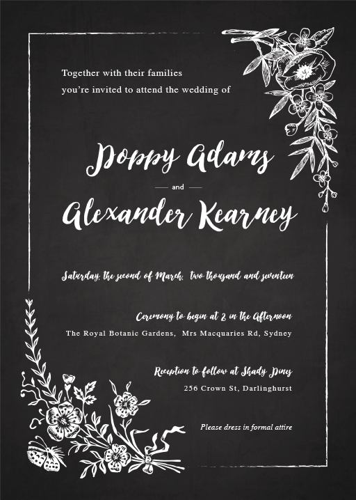 Floral Chalkboard Invitations - wedding invitations