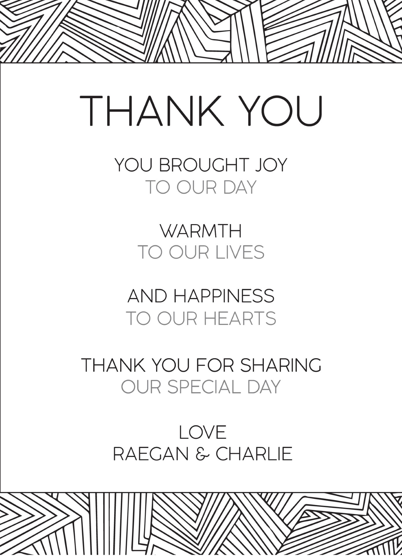 Lines - Thank You Card