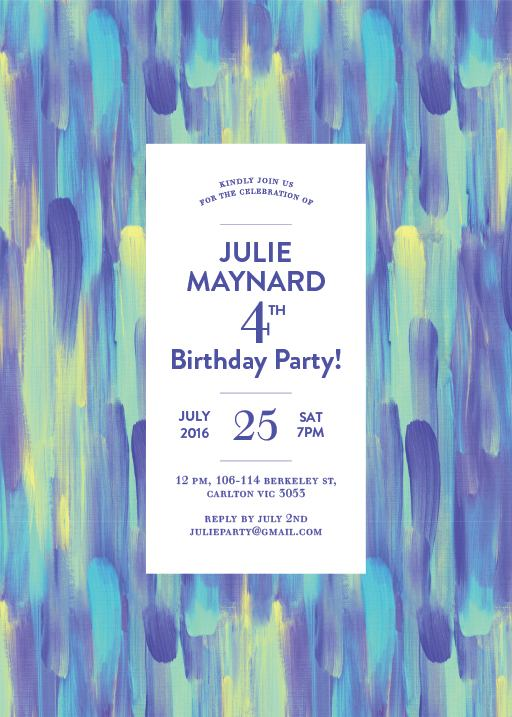 Paint Strokes - Birthday Invitations