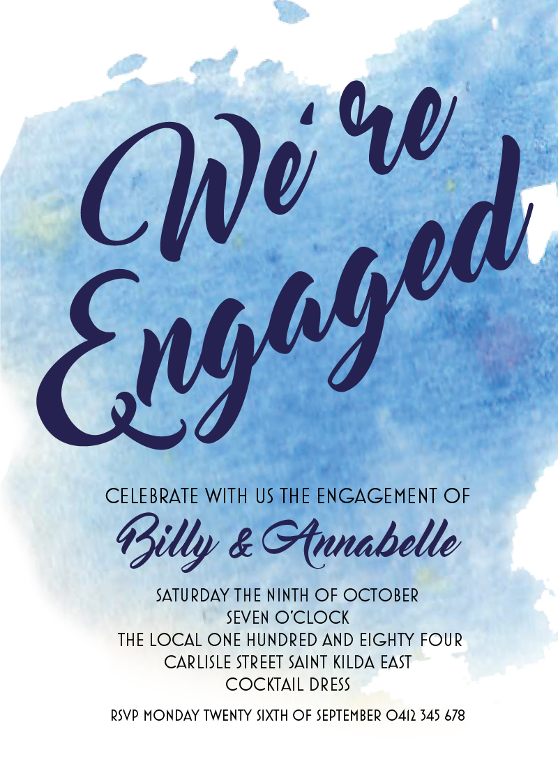 Blue Watercolor - Engagement Invitations