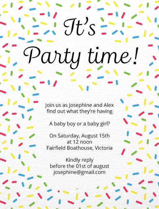 It's Party Time - baby announcement
