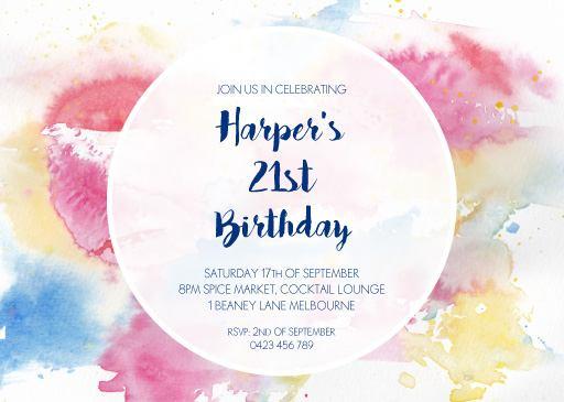 Watercolour 21st Birthday Invitation - Birthday Invitations