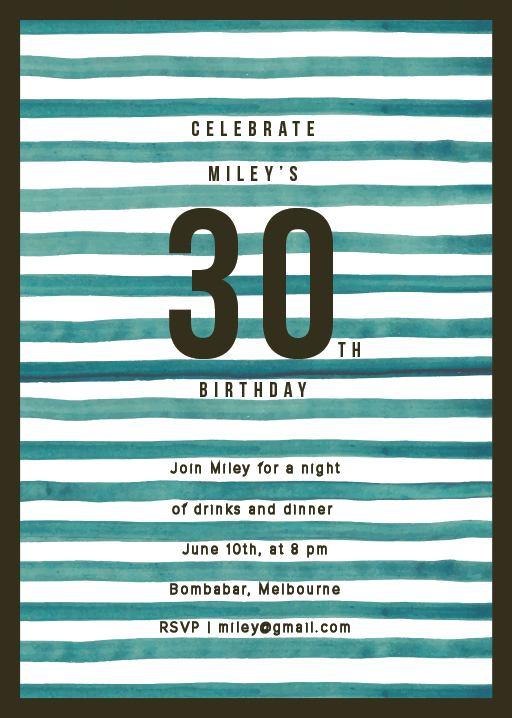 Indigo stripes - Birthday Invitations