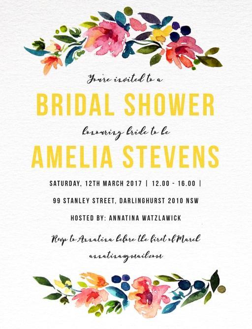 Floral bridal shower - bridal shower invitations