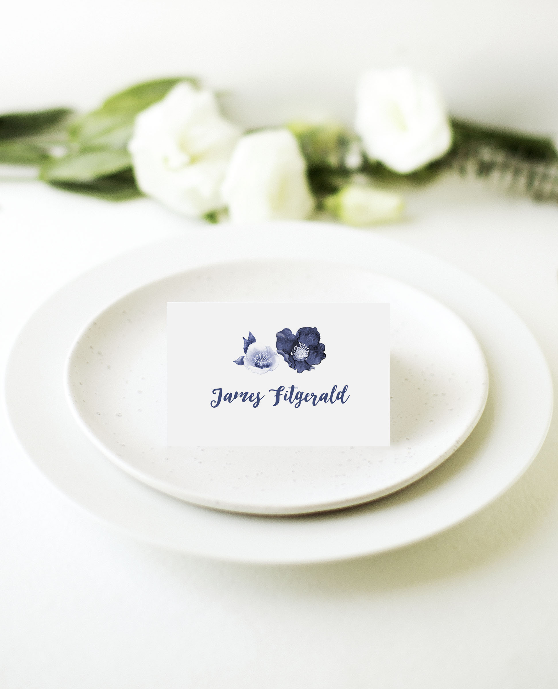 Blue Floral - Place Card