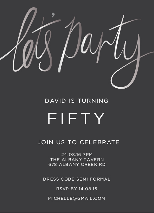 Lets Party Silver - birthday invitations