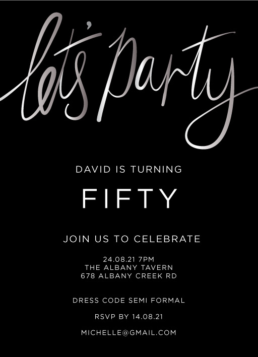 Lets Party Silver Foil - birthday invitations