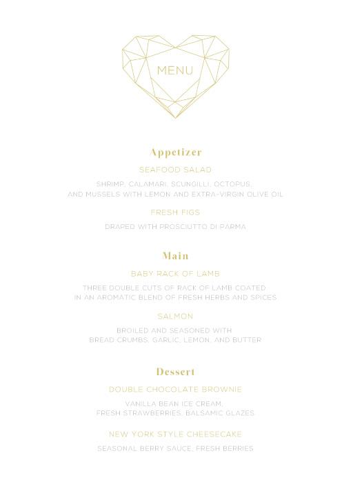 Diamond Love - Menu Card