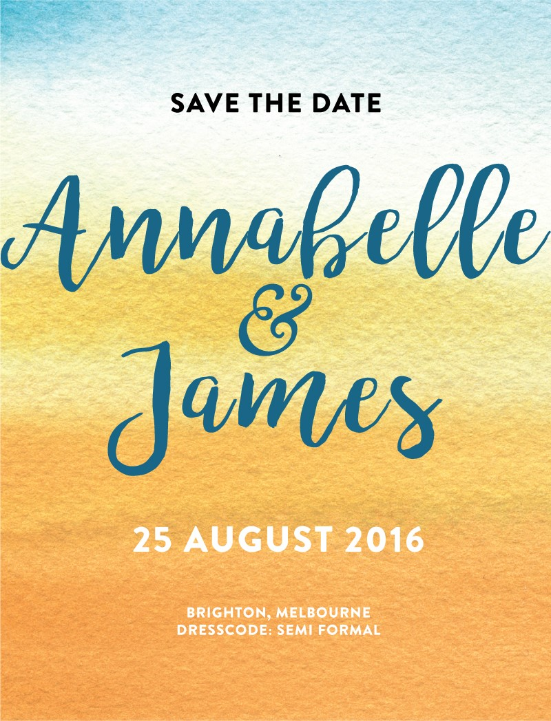 ombre watercolour - Save The Date