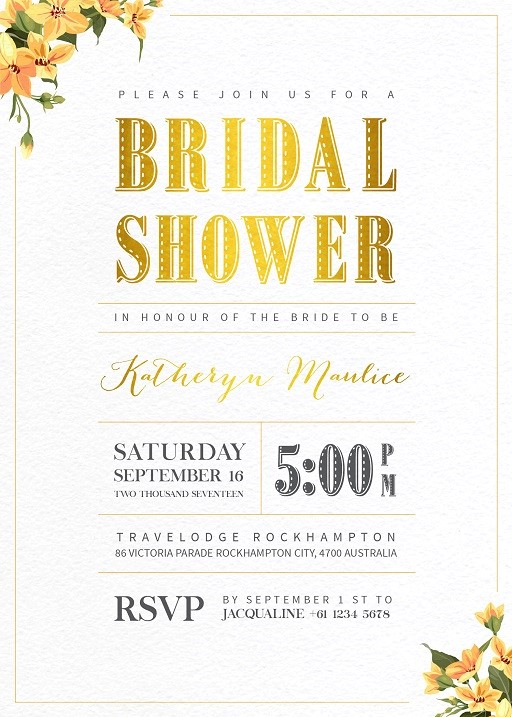 The Floral Line - bridal shower invitations