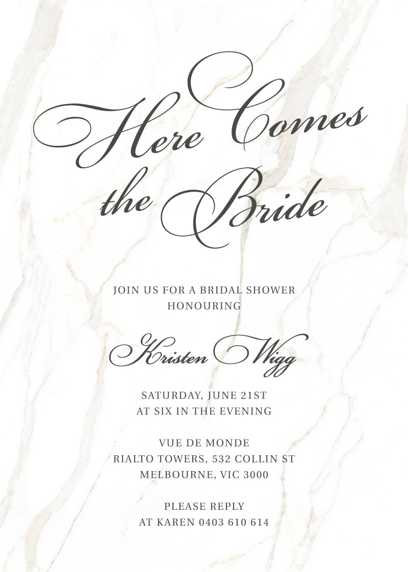 Here Comes the Bride - Bridal Shower Invitations