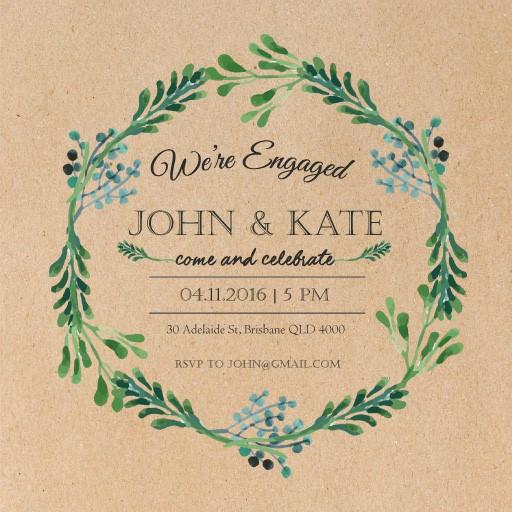 Blue Green Leaves wreath - Invitations