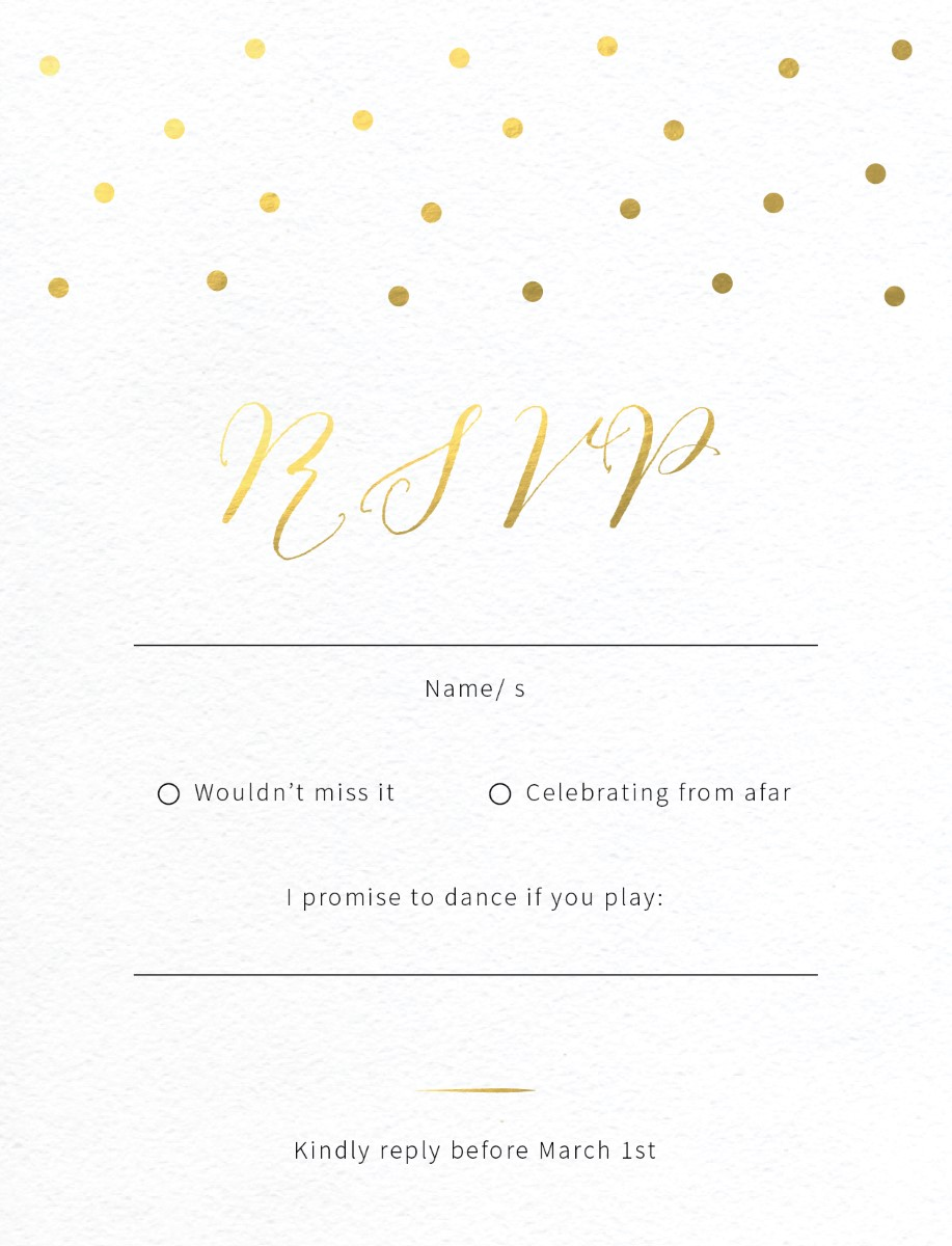 Goldie dots - RSVP Cards