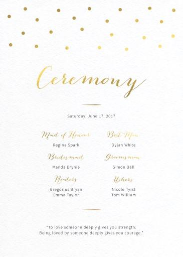 Goldie dots - Wedding Programs