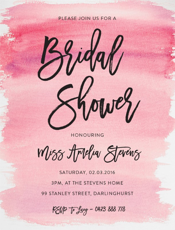 Black script - Bridal Shower Invitations