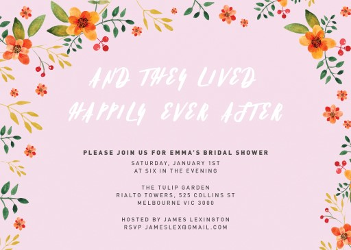 Bubble Gum Floral - bridal shower invitations
