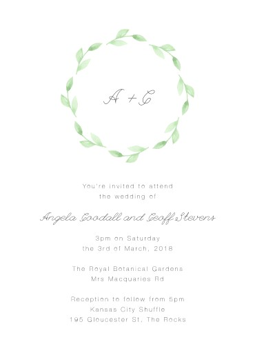 Green wreath - Invitations