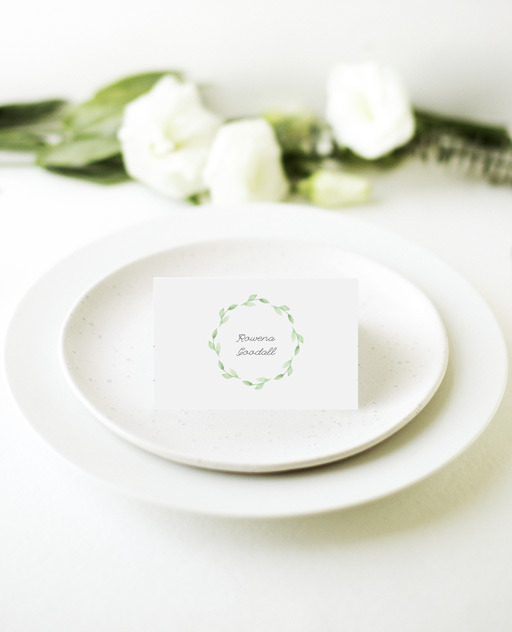 Green wreath - Place Card
