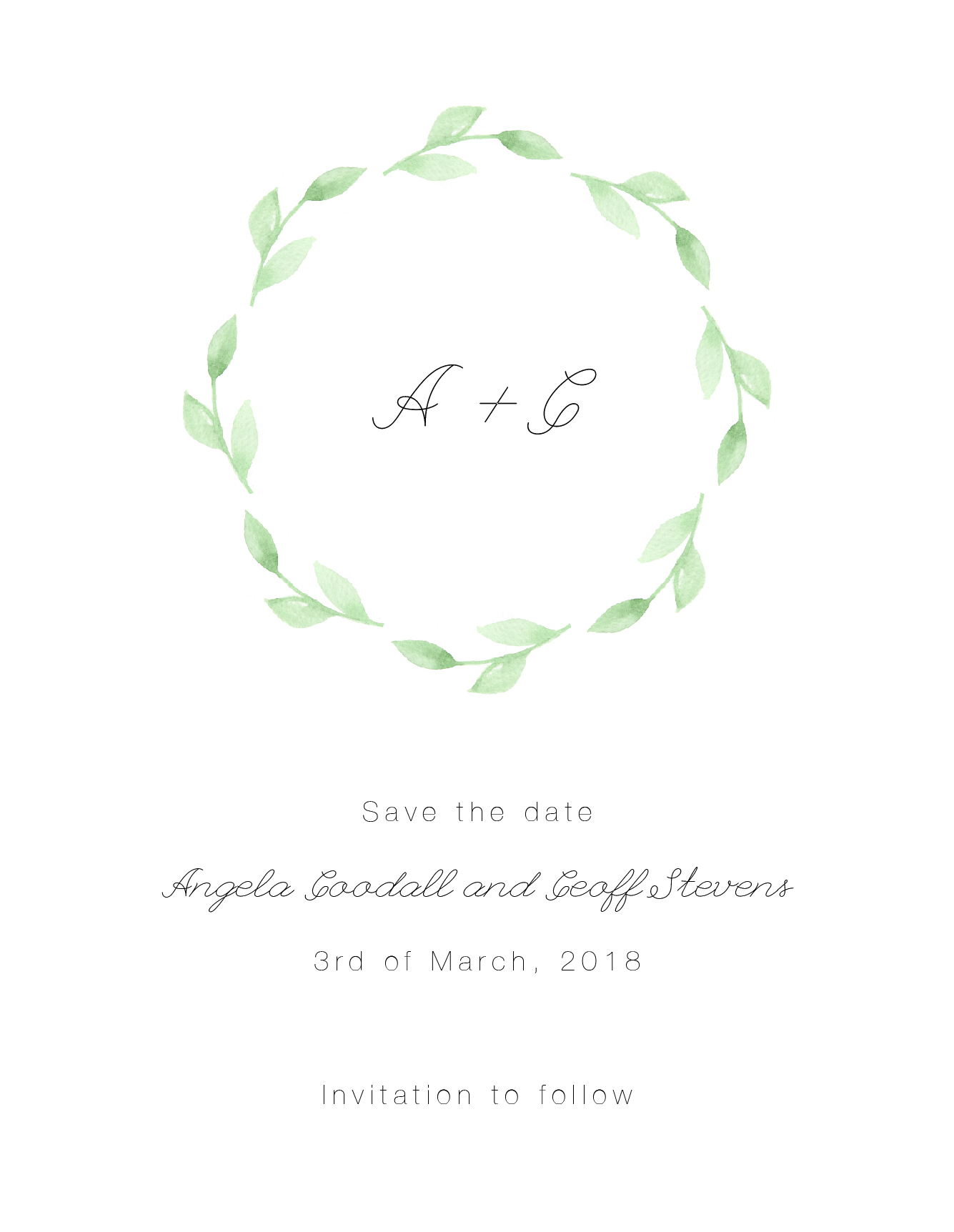 Green wreath - Save The Date